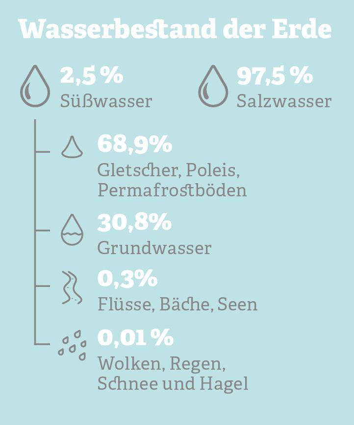 Grafik: Wasservorkommen auf der Erde