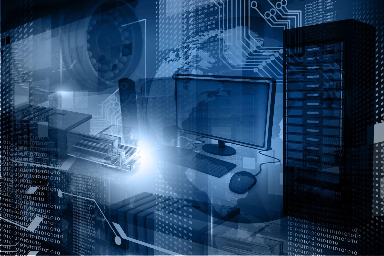 Computer, Datenträger und Zahlen verbildlichen die Blockchain